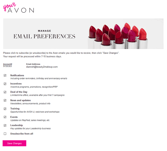 Setting Up Your Avon Email Preferences