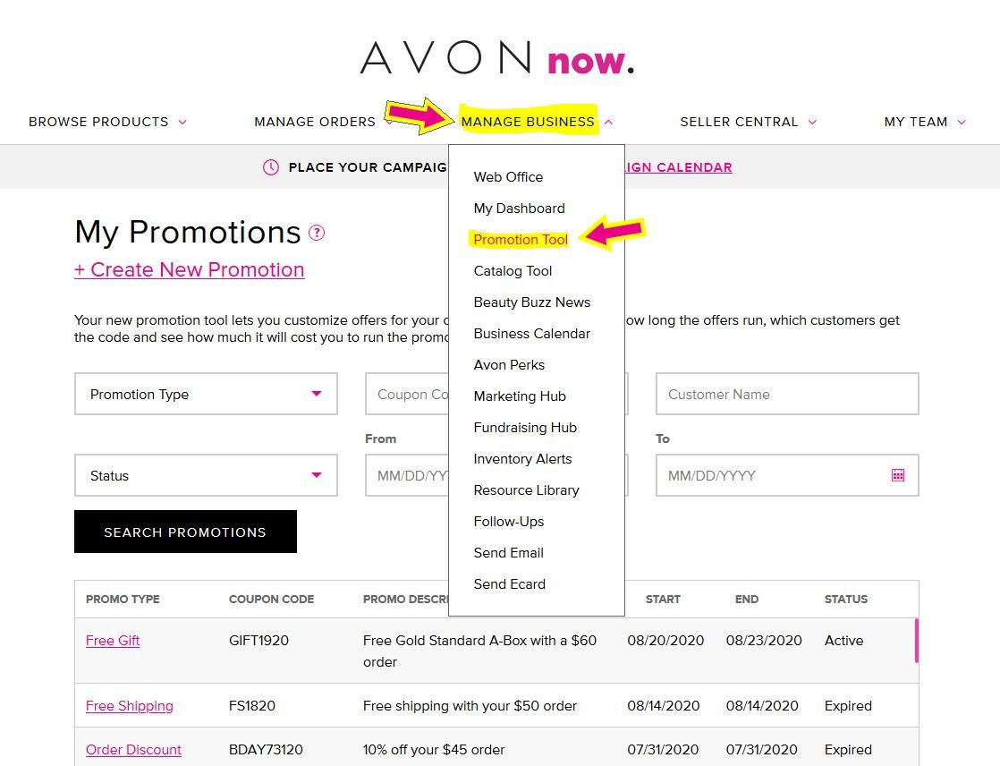 How to access the Avon Promo Tool